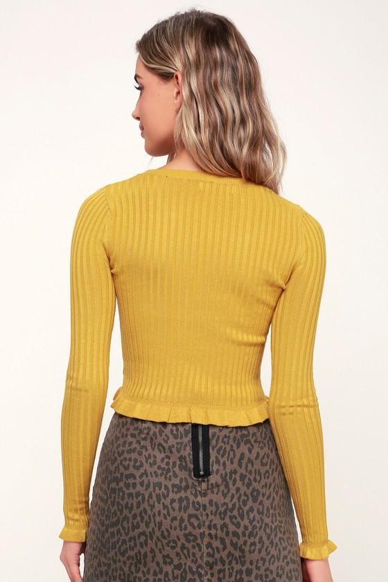 d435cd84c7cac2 Cute Yellow Sweater Top - Ruffle Sweater - Cropped Sweater Top