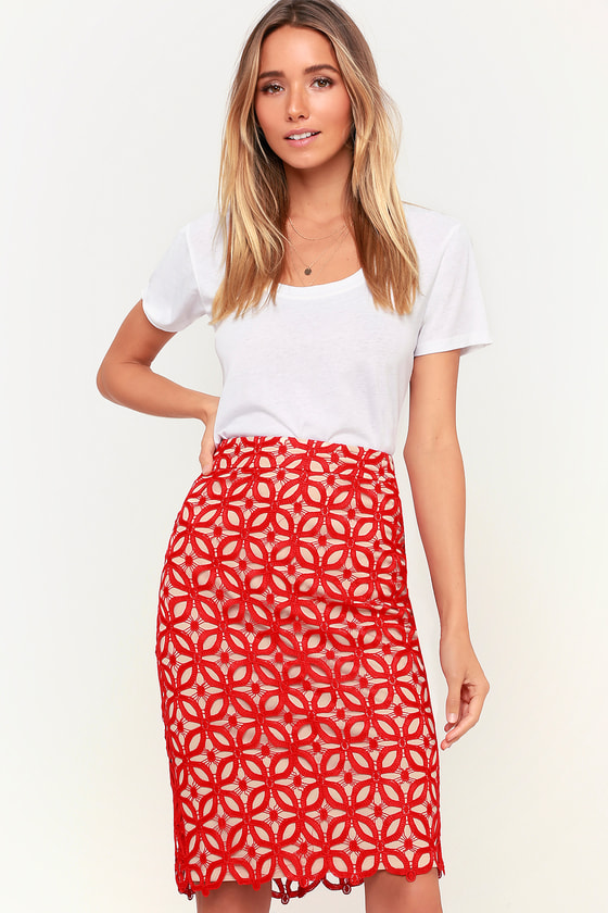 ad969942c Chic Pencil Skirt - Lace Midi Skirt - Red and Nude Skirt