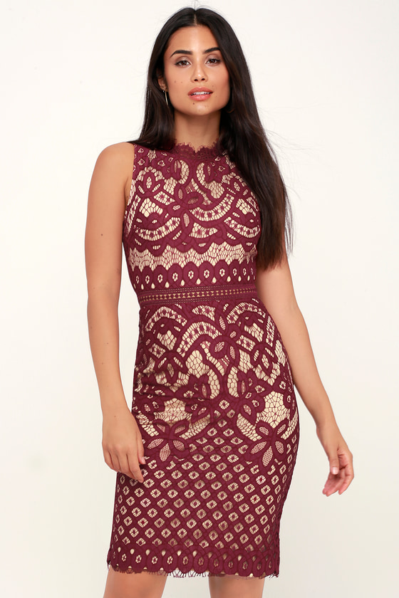 4e4b835321 Lovely Burgundy Dress - Lace Dress - Burgundy Midi Dress