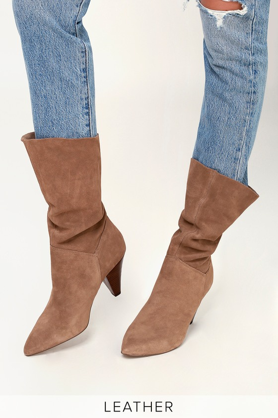 13f929a2156 Rein Tan Suede Leather Slouchy Mid-Calf Boot