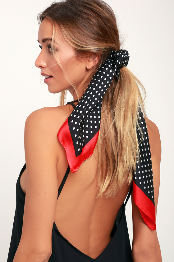 Vintage Scarves- New in the 1920s to 1960s Styles Genevieve Red and Black Polka Dot Scarf - Lulus $12.00 AT vintagedancer.com