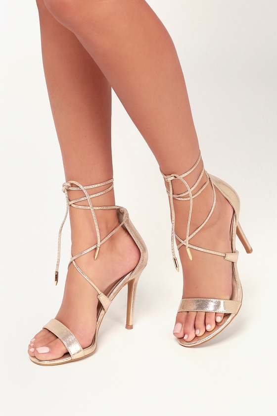 Aimee Champagne Metallic Lace Up Heels