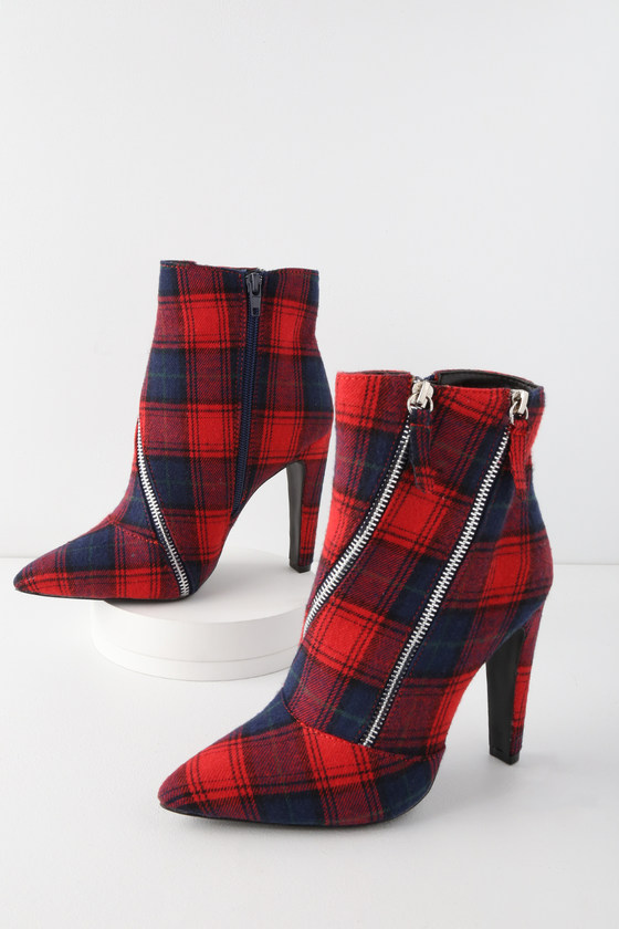 Red Plaid Boots - Mid-Calf Booties