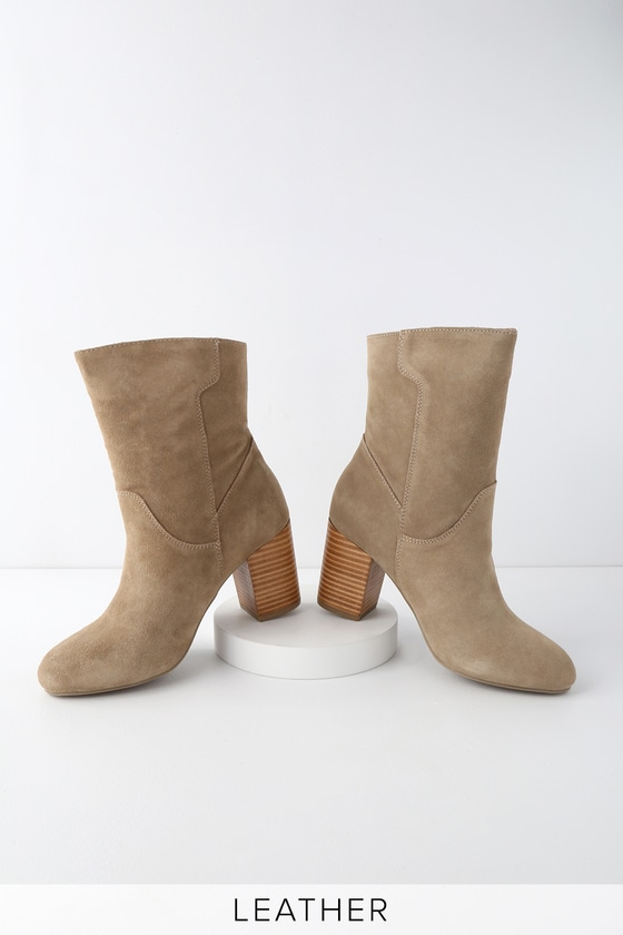 168ad0d0f9c37 MIA Cobain - Stone Boots - Suede Leather Boots - Mid-Calf Booties
