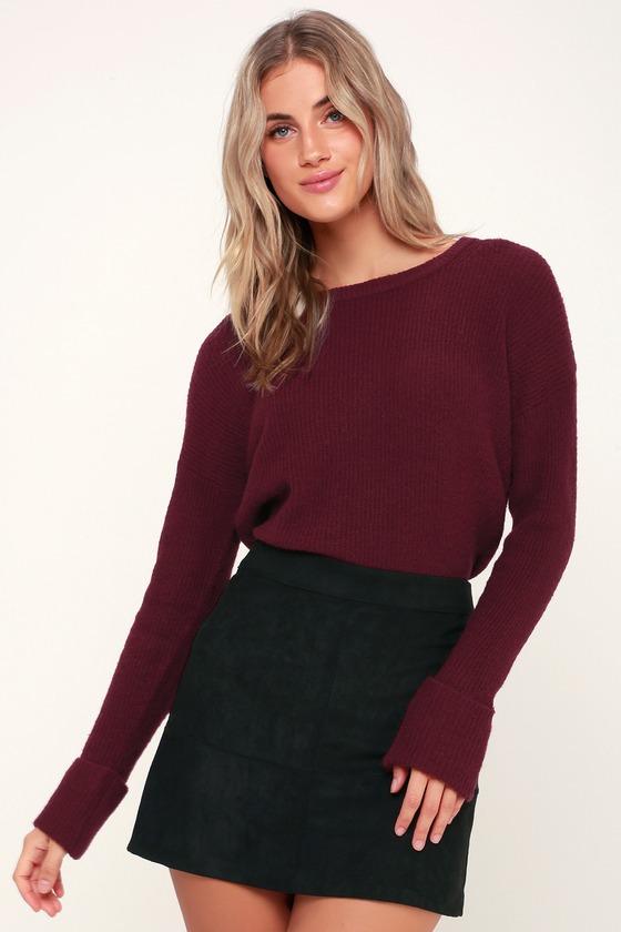 c32da6a71f Olive + Oak Andie - Burgundy Sweater - Oversized Knit Sweater