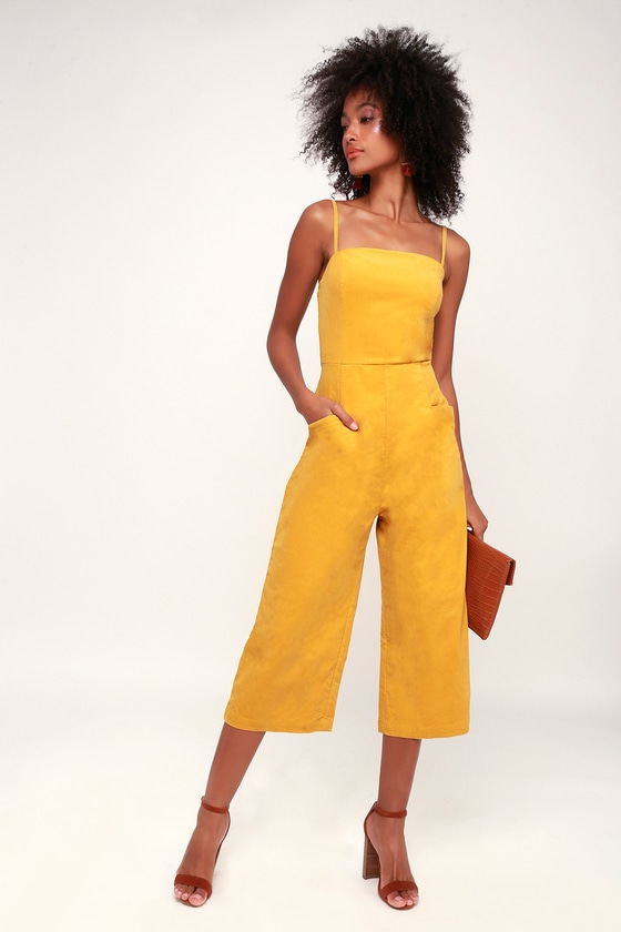 c7ca65b72d Cute Corduroy Jumpsuit - Yellow Jumpsuit - Cropped Jumpsuit