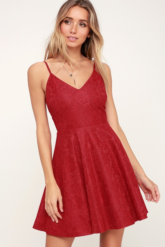 599aafe089 Chic Red Dress - Skater Dress - Lace Dress - Red Lace Dress