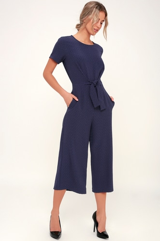 ab4173da8d40 Main Thing Navy Blue Tie-Front Short Sleeve Culotte Jumpsuit