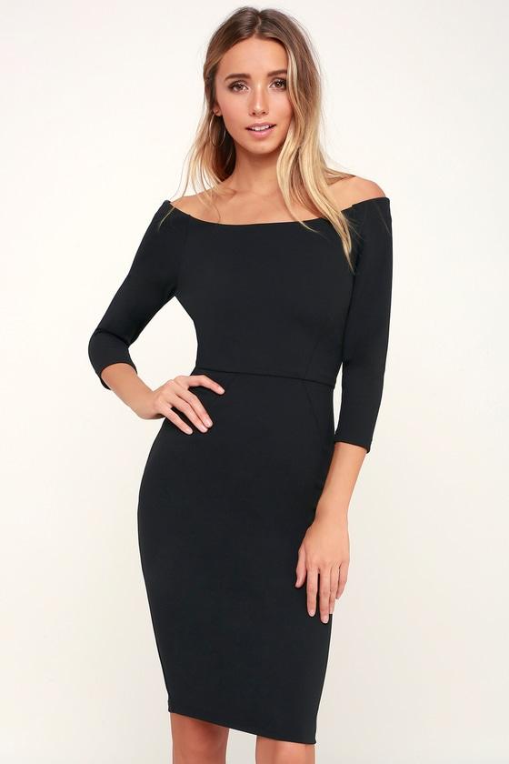 c9f239d6eb42 Chic Black Dress - Bodycon Midi Dress - LBD - Black Midi Dress