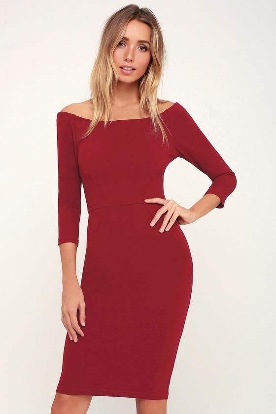 259df0e51608 Chic Wine Red Dress - Bodycon Midi Dress - Wine RedMidi Dress