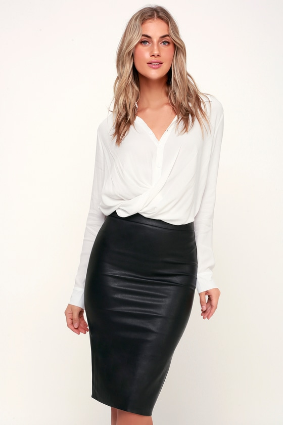 Bardot Donna - Vegan Leather Pencil Skirt - Black Leather Skirt - Lulus