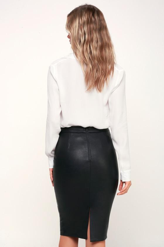 89c144c11a0 Bardot Donna - Vegan Leather Pencil Skirt - Black Leather Skirt