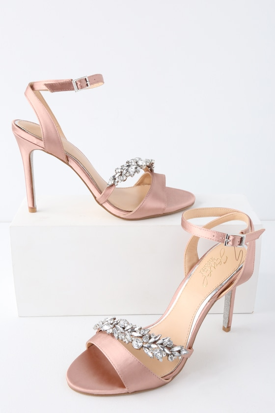 425d30209f53 Jewel by Badgley Mischka Merida - Blush Heels - Rhinestone Heels