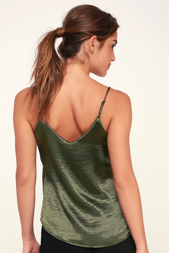 2f2db3d4acd14 Chic Green Top - Surplice Top - Olive Green Top - Dressy Tank Top