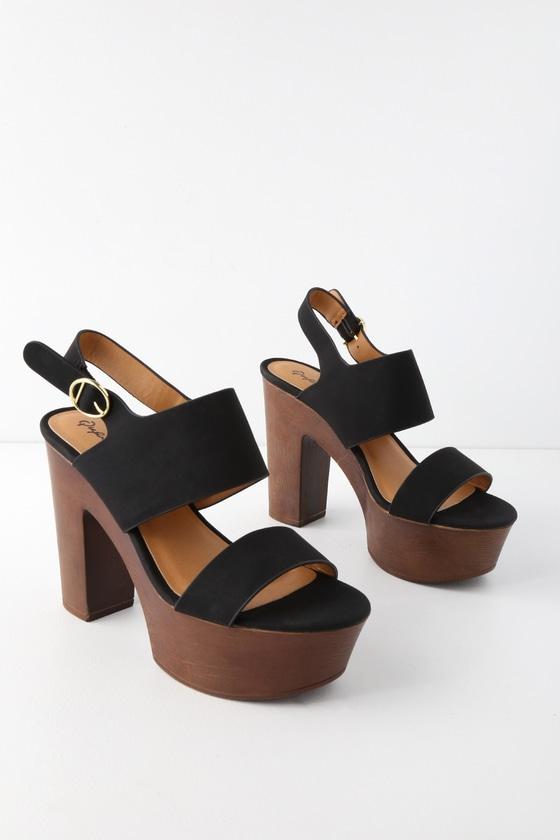 4a79e2c6d5fc Cute Black Platform Sandals - Vegan Sandals - High Heel Sandals