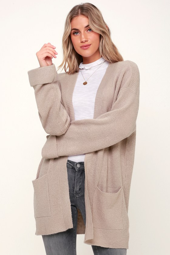 23c4f0dbc96 Olive + Oak Donna - Taupe Knit Cardigan - Open Front Cardigan