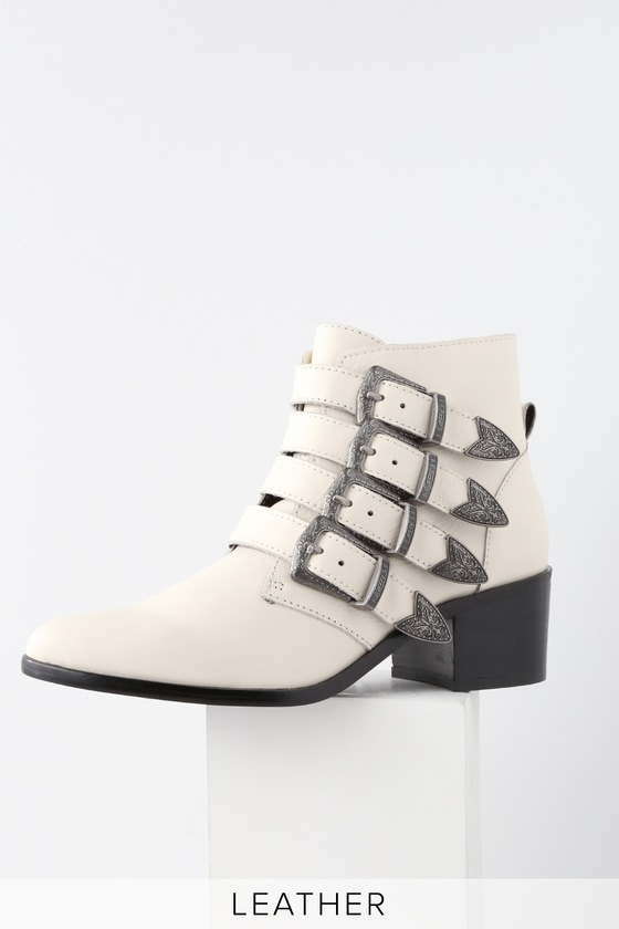 6e28d978680 Steve Madden Billey - White Leather Boots - Belted Ankle Booties