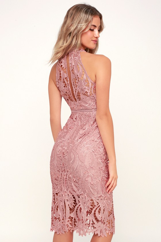 Isla Pink Lace Halter Midi Dress