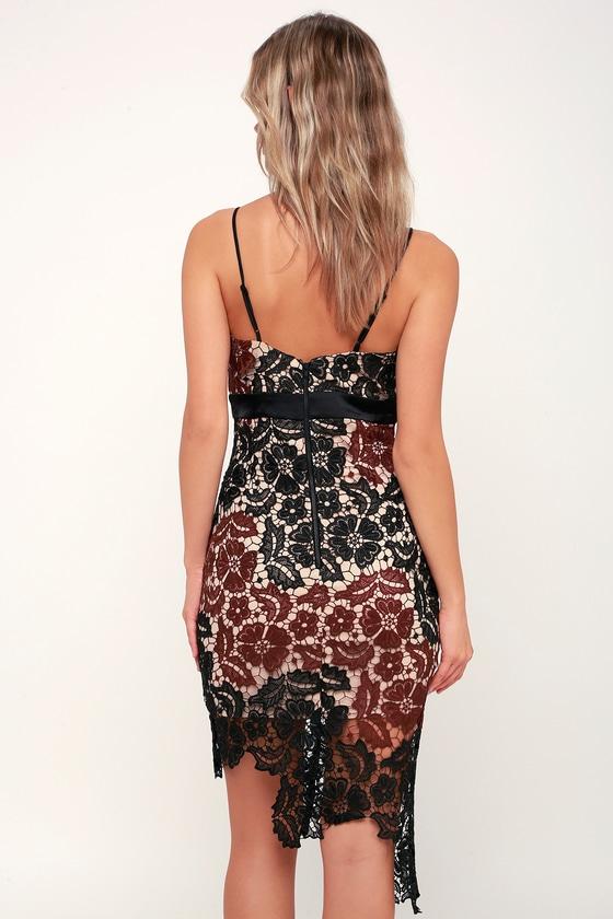 Eve Black And Burgundy Lace Asymmetrical Bodycon Dress