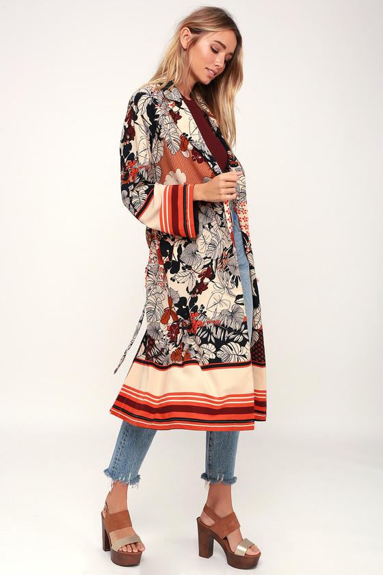 Vintage Coats & Jackets | Retro Coats and Jackets Saturday Sun Beige Floral Print Kimono - Lulus $84.00 AT vintagedancer.com