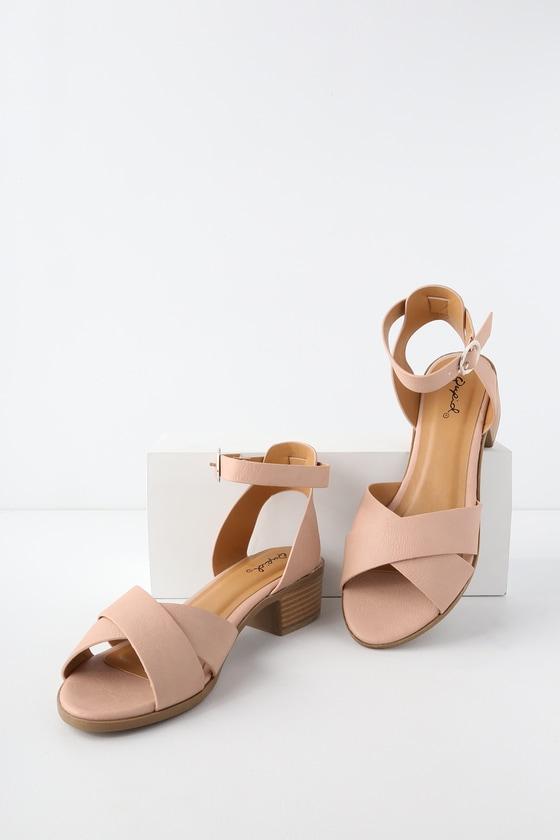 8be030a87cb Cute Nude Heels - Low Heels - Ankle Strap Heels - Block Heels