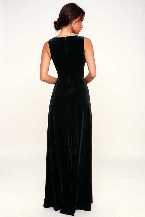 c22fa0745d3a Lovely Black Dress - Velvet Maxi Dress - Black Velvet Dress