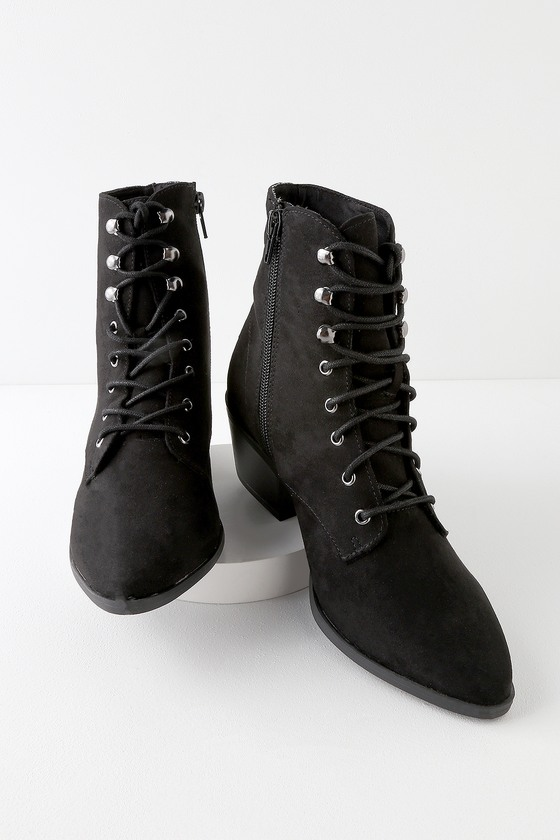 c6599d56488e Cute Black Booties - Lace-Up Booties - Suede Booties - Boots