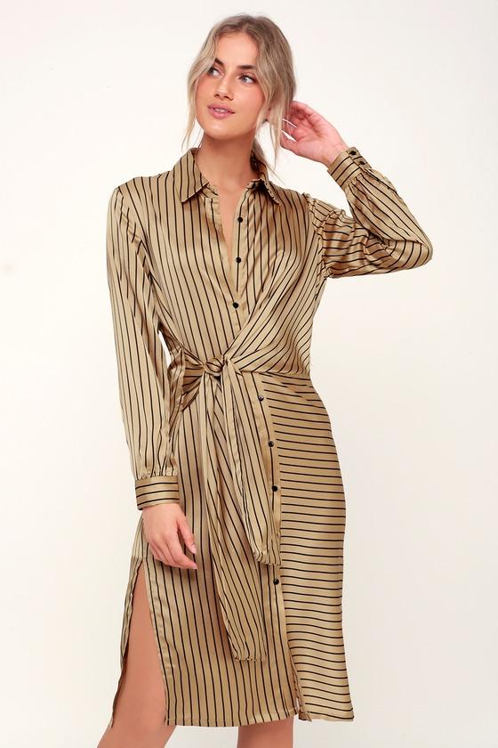 1c84f64a2355 LUSH Dress - Striped Dress - Gold Dress - Midi Dress