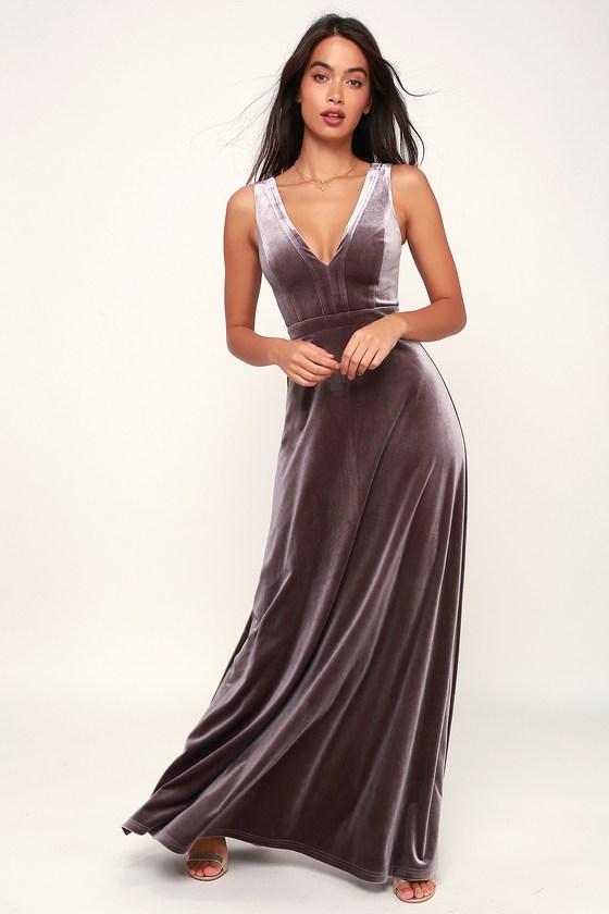 7d87e305023 Lovely Dusty Purple Dress - Velvet Maxi Dress - Sleeveless Dress
