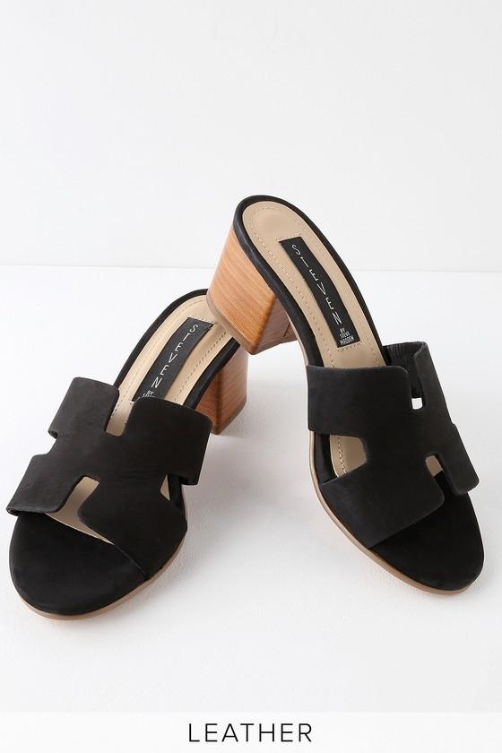 0e620cb3955 Steven by Steve Madden Foreva - Leather Mules - Black Sandals