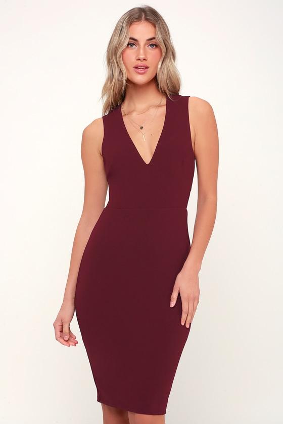c43fd00f3ed Sexy Burgundy Dress - Bodycon Dress - Midi Dress - Strappy Dress