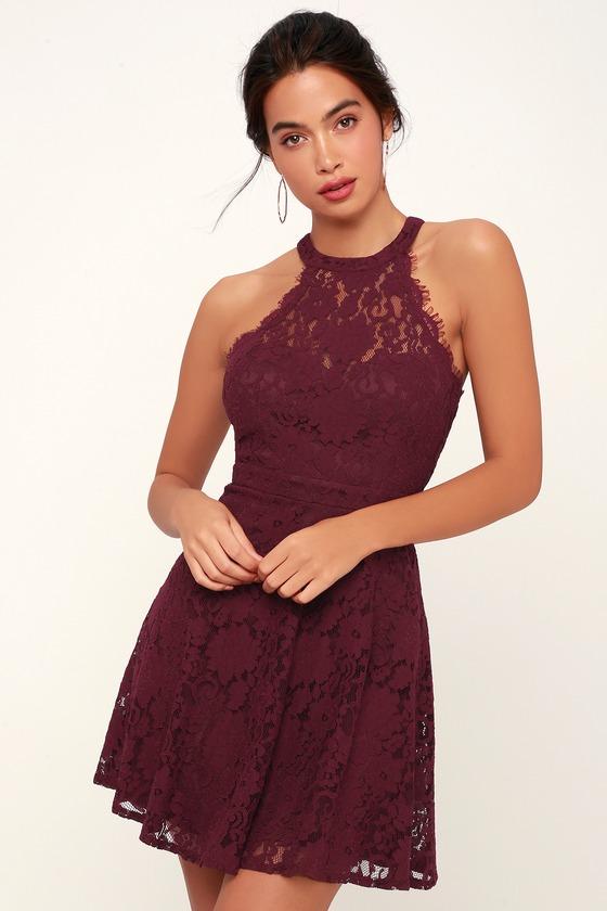 19ce4477ae Cute Lace Skater Dress - Burgundy Lace Dress - Lace Mini Dress