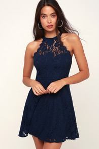 fd0e521922 Lovely Navy Blue Dress - Lace Dress - Lace Skater Dress