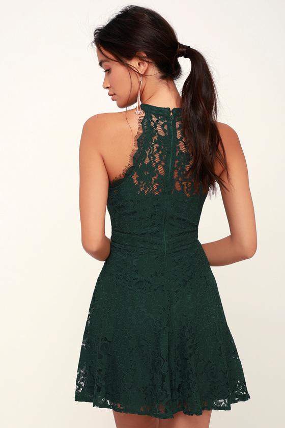 Cute Lace Skater Dress - Green Lace Dress - Lace Mini Dress dd33b53c148b