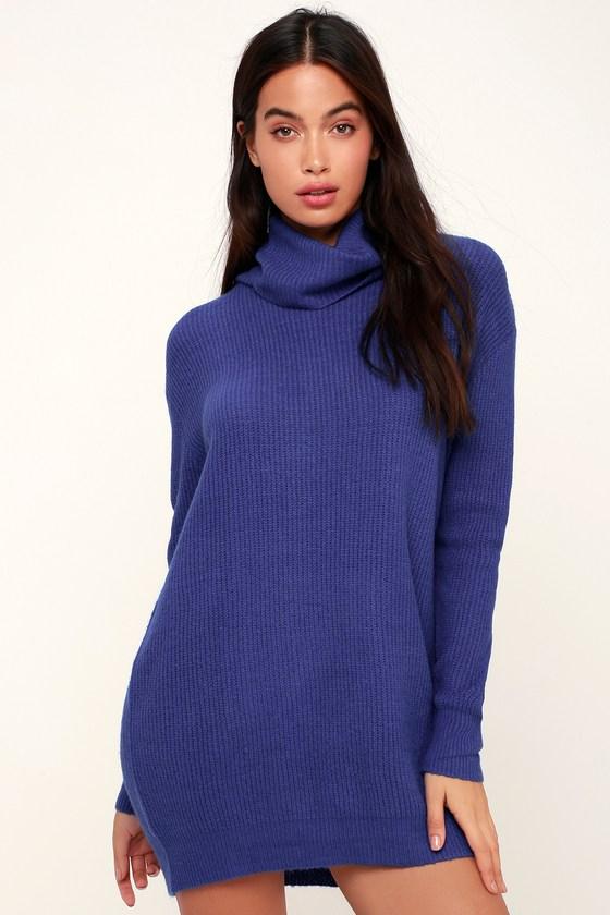 e3f1dbf861c02 Cute Blue Dress - Sweater Dress - Cowl Neck Dress - Knit Dress