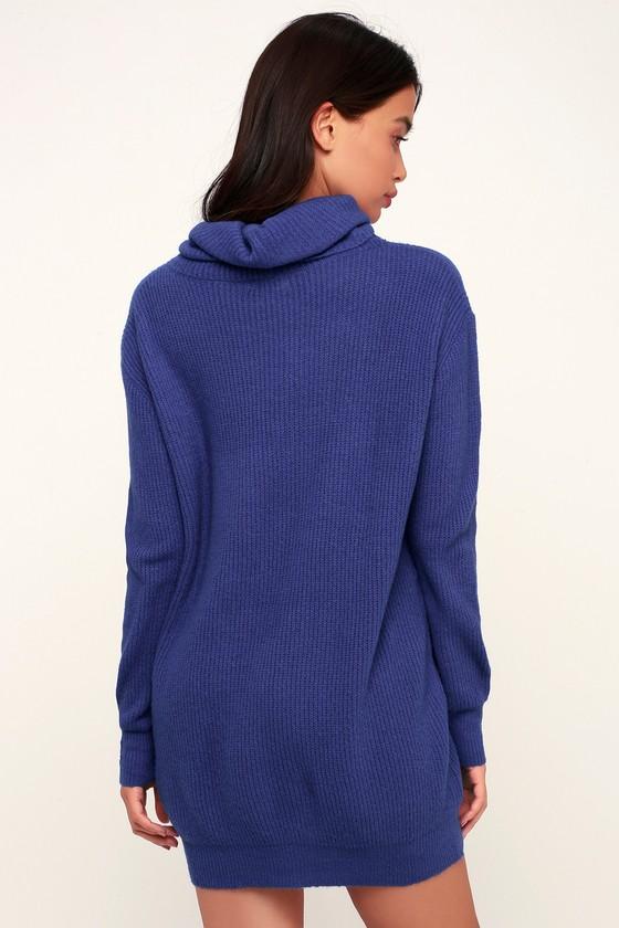 8452dce7e0 Cute Blue Dress - Sweater Dress - Cowl Neck Dress - Knit Dress