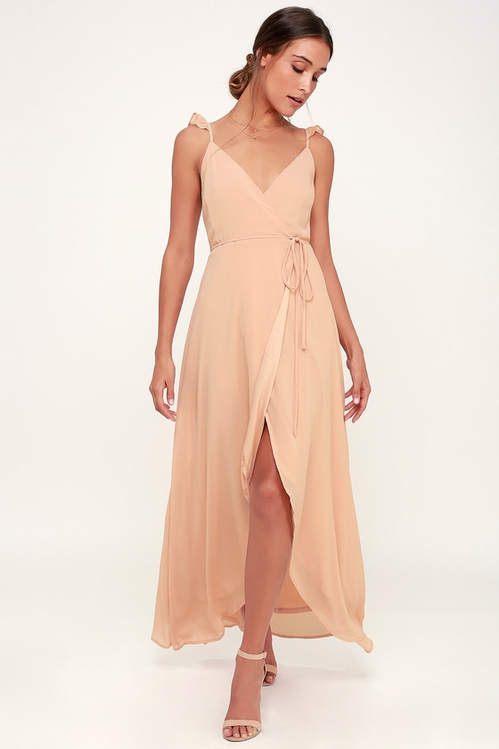 Here S To Us Blush Pink High Low Wrap Dress