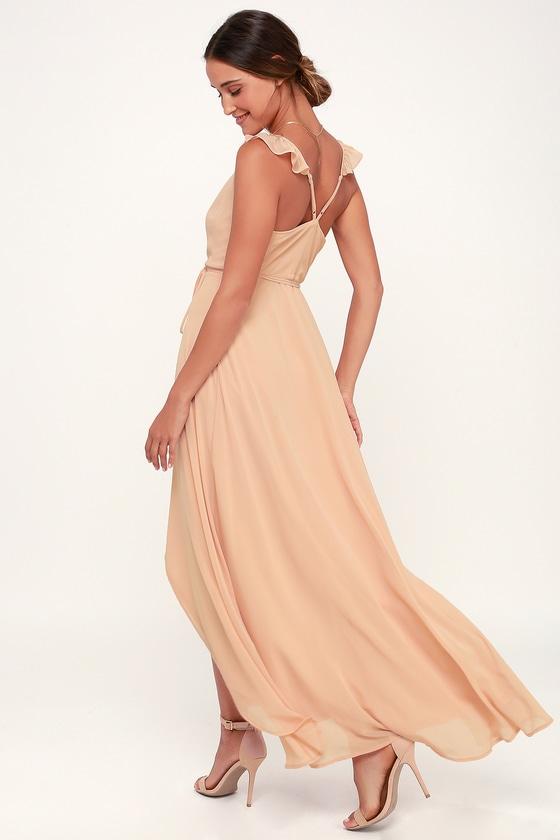 8dfc8f6e402c2 Lovely Blush Pink Dress - Wrap Dress - Maxi Dress - Ruffle Dress