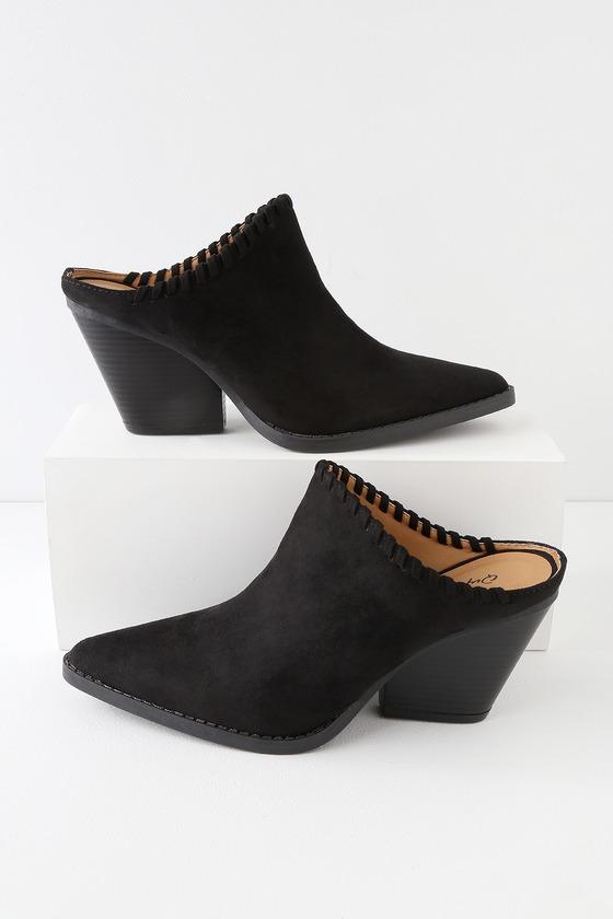 baa64416273 Cute Black Mules - Vegan Suede Mules - Pointed Toe Mules