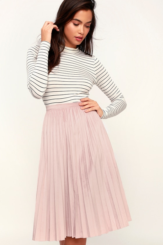 827b1de2f5 Chic Blush Pink Skirt - Vegan Suede Skirt - Pleated Midi Skirt