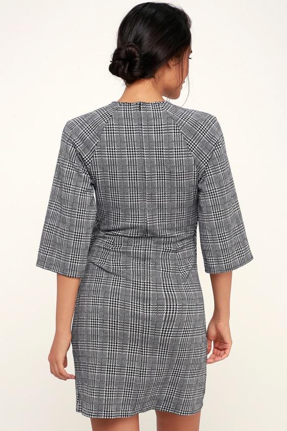 4e57ce28da RD Style - Black and White Glen Plaid Dress - Tie-Front Dress