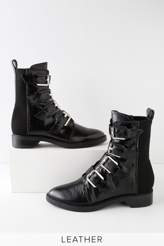 5c6886e5bc0 Dolce Vita Gaven - Black Leather Boots - Belted Mid-Calf Boots