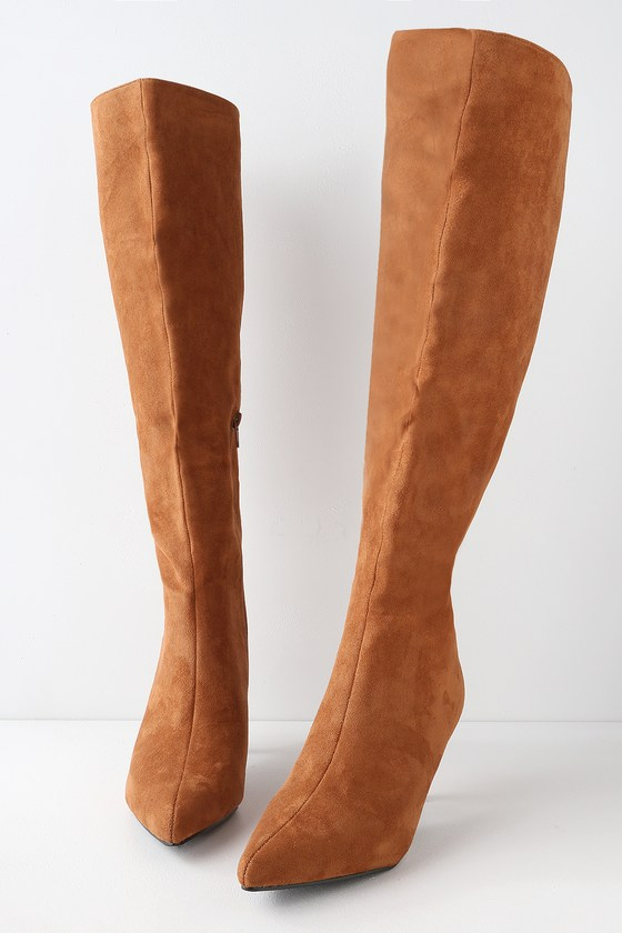 3e7b00058 Chic Camel Boots - Vegan Suede Boots - Knee-High Boots - Boots