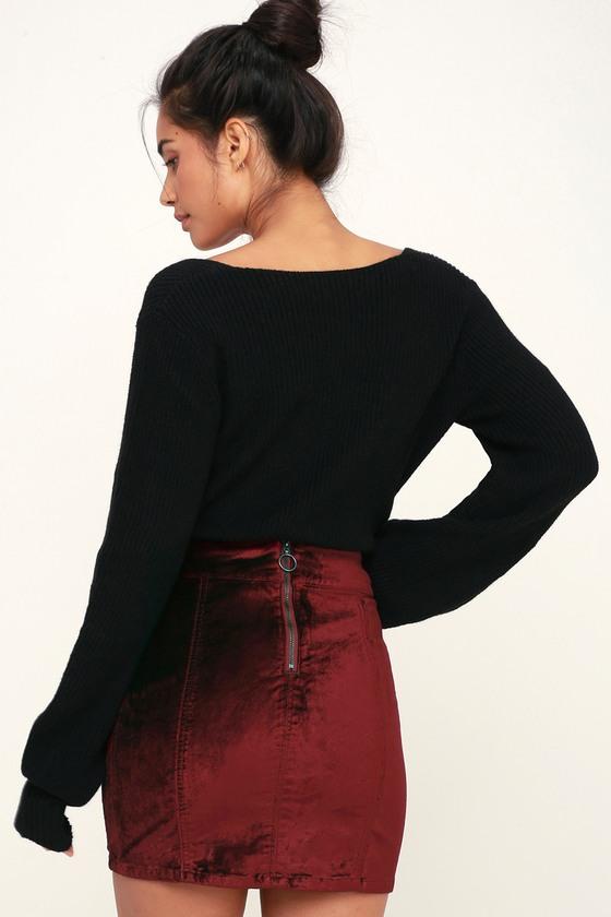 182eed76d Free People Retro Mini - Red Velvet Skirt - Wine Red Mini Skirt
