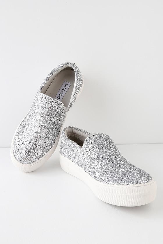 8242792d975d1 Steve Madden Gills - Silver Glitter Sneakers - Slip-On Shoes
