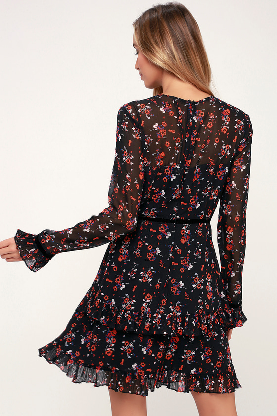 221826a8586 Cute Black Floral Print Dress - Long Sleeve Dress - Mini Dress