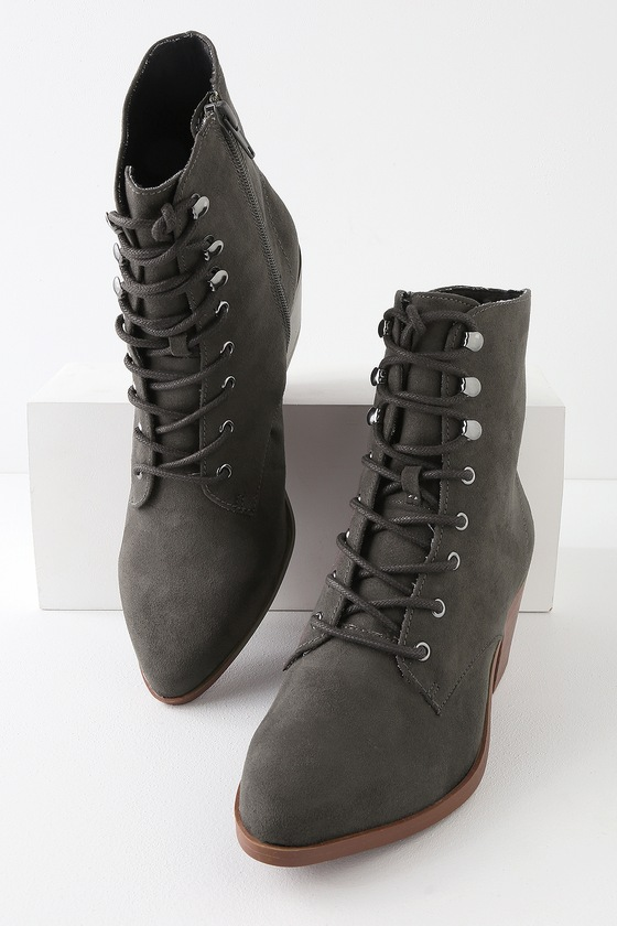 45e02167fd7d Cute Grey Booties - Lace-Up Booties - Suede Booties - Boots