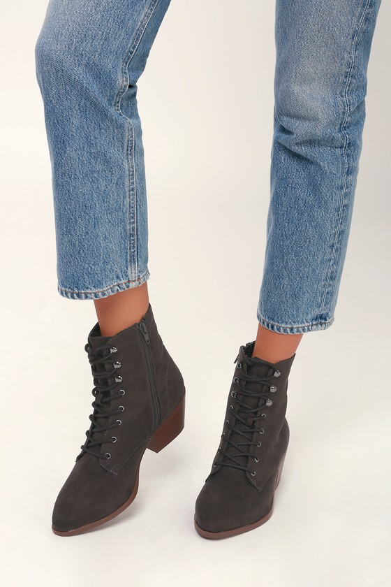 3ec7f4a706b Montie Grey Suede Lace-Up Ankle Booties