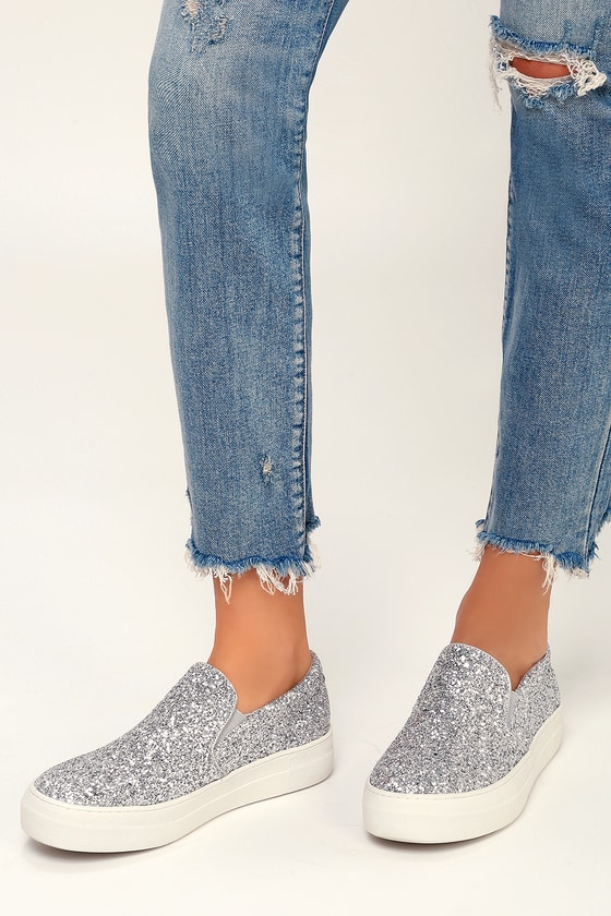 1a6db9667774 Steve Madden Gills - Silver Glitter Sneakers - Slip-On Shoes