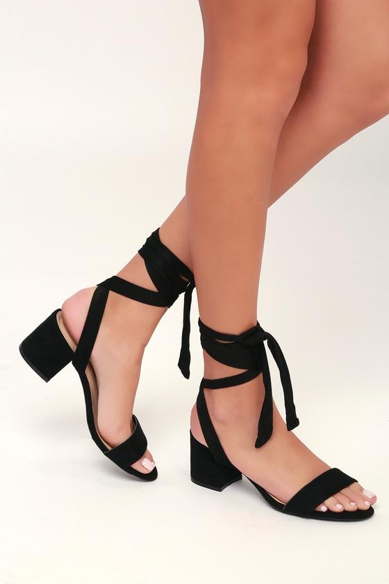 Vegan Suede Heels - Lace-Up Heels
